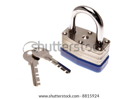 Padlock and keys isolated over white - stock photo
