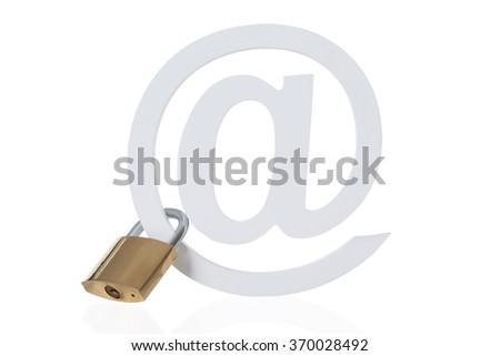 Padlock attached to email symbol isolated over white background