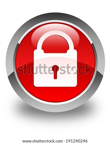 Padlock icon glossy red round button