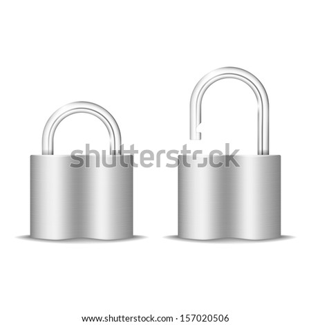 Padlock Icon. Open And Closed. Isolated On White. Raster version - stock photo