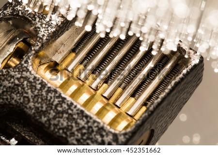 Padlock inside, and fiber optical technology background  - stock photo