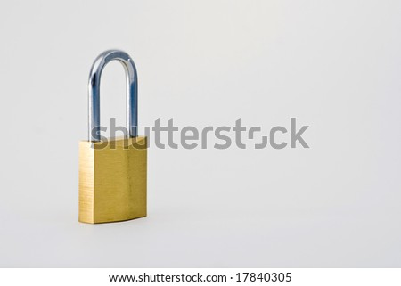 padlock isolated on white - stock photo