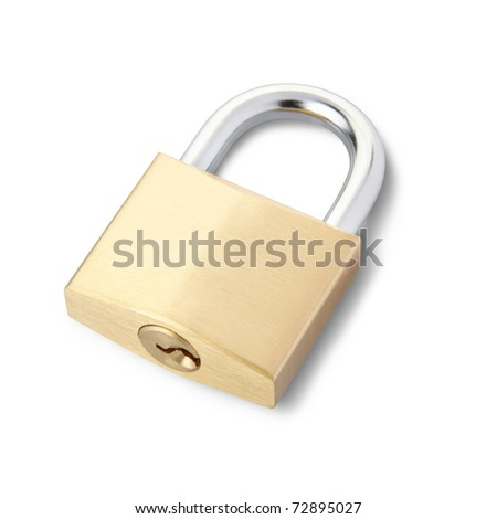 Padlock isolated on white, clipping path included - stock photo