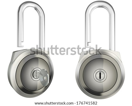 Padlock isolated on white. Perspective and front view. - stock photo