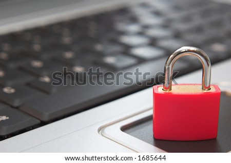 Padlock on laptop. Concept of computer / internet security.