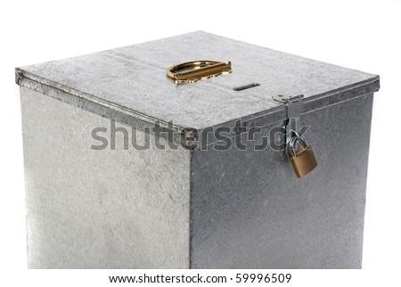 Padlock on metal box - stock photo