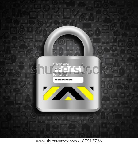 Padlock on social  background