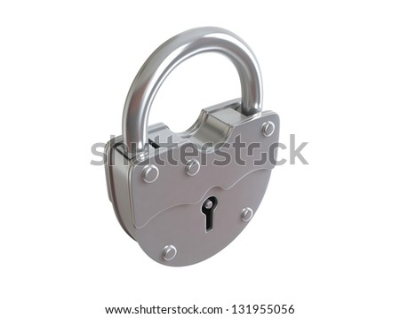 Padlock on white background. 3D rendered illustration - stock photo