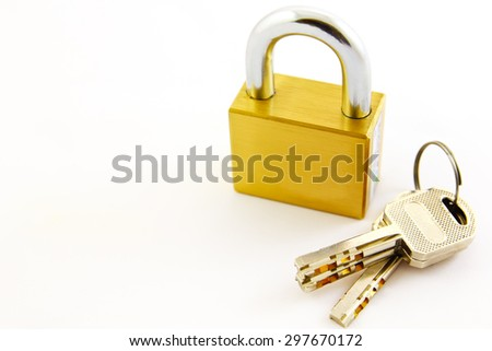 Padlock with a key on a white background