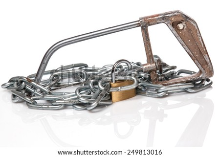 Padlock with chain and saw on white background - stock photo