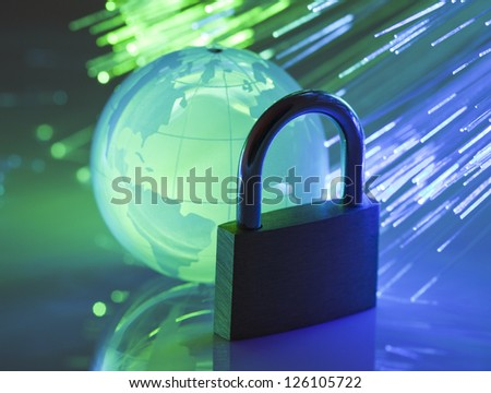 Padlock with crystal globe