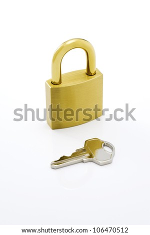 Padlock with key on white background.