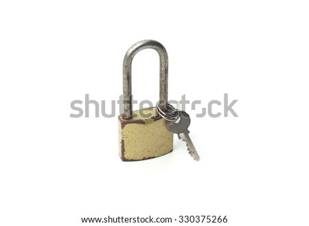 Padlock with keys isolated on a white background, metal padlock - stock photo