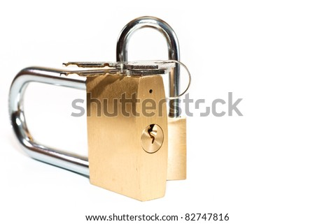 padlock with keys on a white background - stock photo