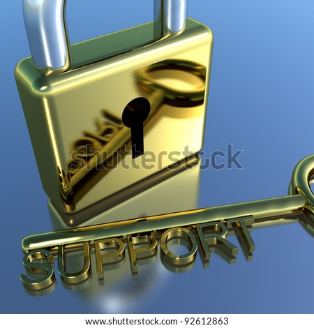 Padlock With Support Key Showing Advice Help Or Information