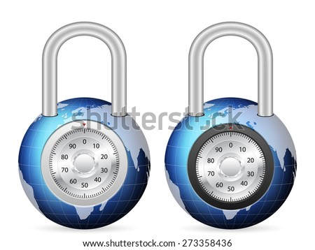 padlock world globe illustration.