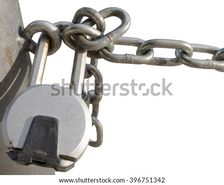 Padlocked chain isolated in white background - stock photo