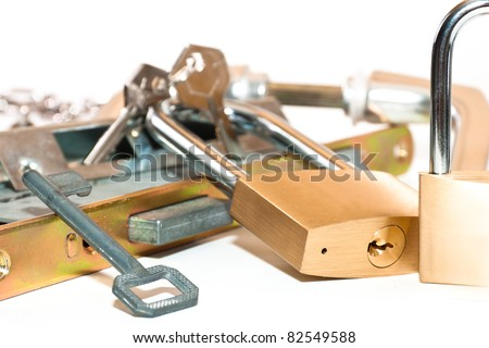 Padlocks and locks the keys inside on a white background - stock photo
