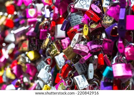 Padlocks at Juliet Capulet Home in Verona, Italy - stock photo