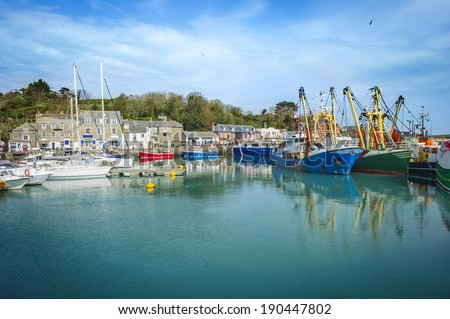 Padstow harbor on a sunny summer day - stock photo