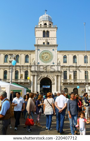 PADUA, ITALY - SEPTEMBER 28: a lot of people celebrating Recycle and Clean Energy Day, by Legambiente, in Piazza dei Signori on September 28, 2014 in Padua, Italy.