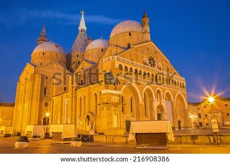 PADUA, ITALY - SEPTEMBER 8, 2014: Basilica del Santo or Basilica of Saint Anthony of Padova in evening dusk.  - stock photo