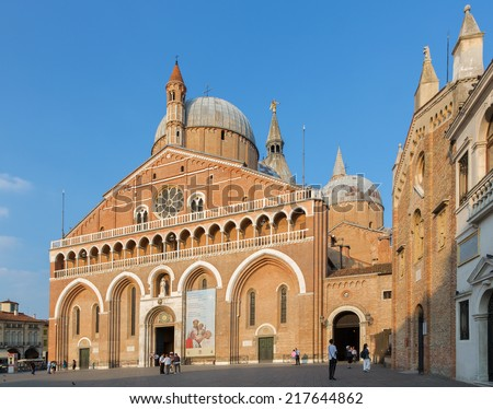 PADUA, ITALY - SEPTEMBER 8, 2014: Basilica del Santo or Basilica of Saint Anthony of Padova in evening.  - stock photo