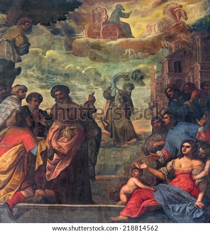 PADUA, ITALY - SEPTEMBER 9, 2014: Pain of scene as prophet Elijah  ascend to heaven in a chariot cf fire and Elisha with the his coat in church Basilica del Carmine from 17. cent by unknown painter.