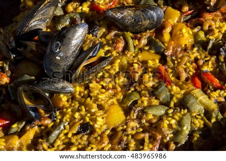 paella at market Fish in Bergen in Norway