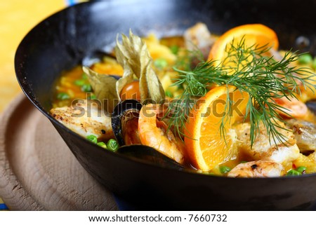 paella food seafood fish scampi mussels - stock photo