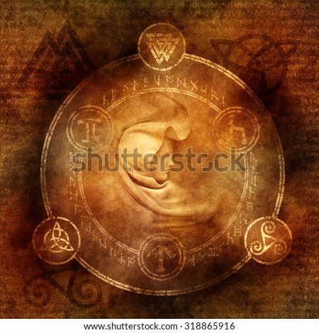 Pagan Sorceress with robed and hooded female figure enclosed within a magic circle of mysterious pagan and runic symbols.