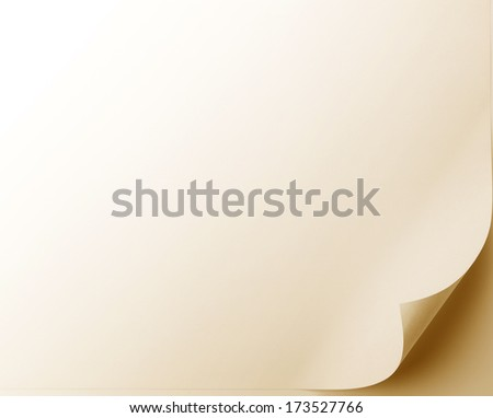 Page curl or unrolled document under warm incandescent light. rotate or flip image to move curl to desired corner.  - stock photo