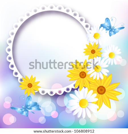 Page layout photo album with flowers. Raster version of vector. - stock photo