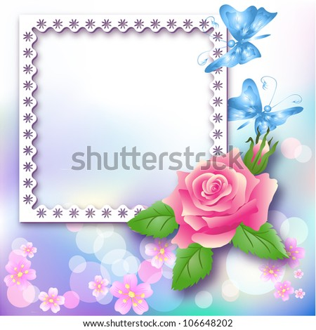 Page layout photo album with rose and butterfly. Raster version of vector. - stock photo