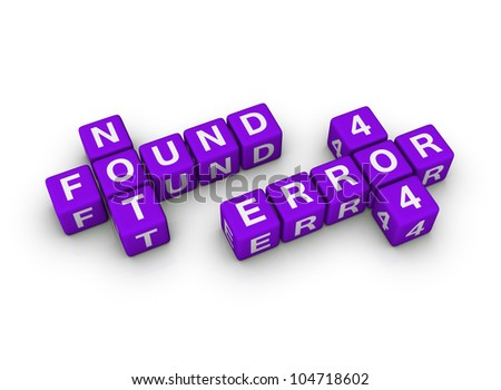 page not found (blue-white cubes crossword series) - stock photo