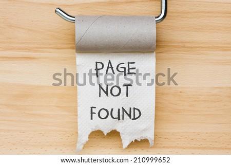 Page not found. Toilet paper as web message - stock photo