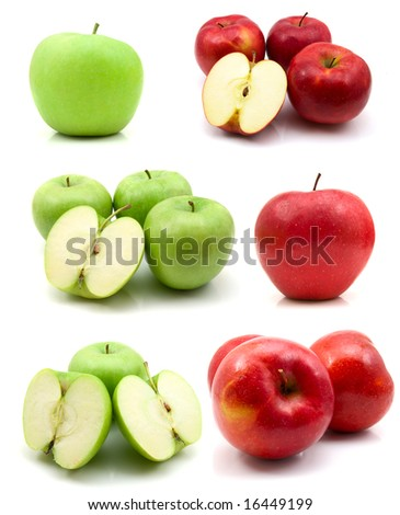 page of apples isolated on the white background