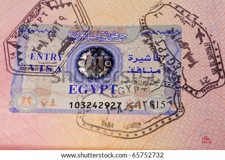 Page of Passport, transit visa Egypt on a document
