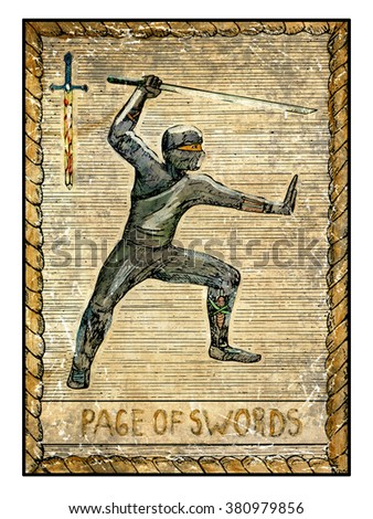 Page of swords. Full colorful deck, minor arcana. The old tarot card, vintage hand drawn engraved illustration with mystic symbols. Warrior with sword or ninja with katana - stock photo