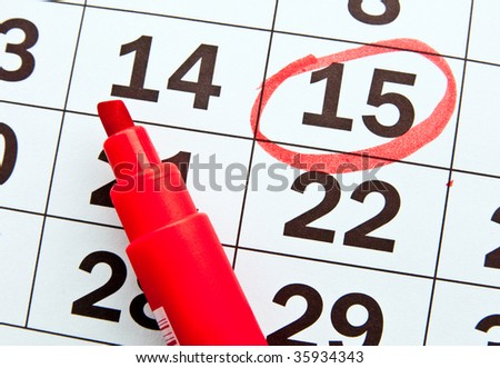 Page of the calendar - stock photo