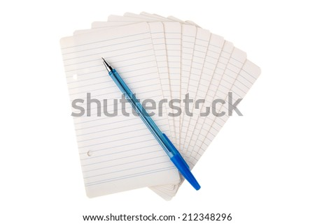 pages of notepad and pen on white background. Personal organizer - stock photo