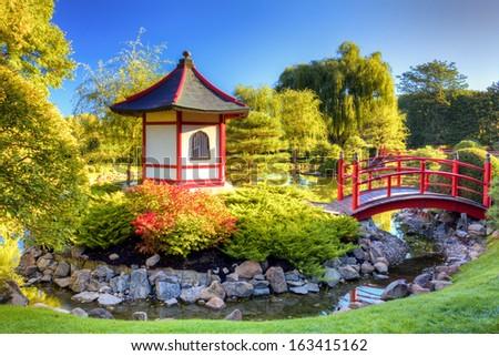 Pagoda and Bridge at the Japanese Garden - stock photo