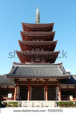 Pagoda at Senso-ji Buddhist Shrine in Tokyo, Japan - stock photo