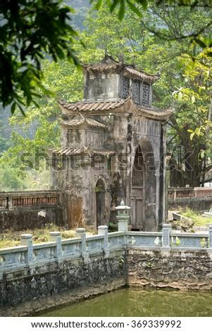 Pagoda Gate in Ninh Binh, Vietnam - stock photo