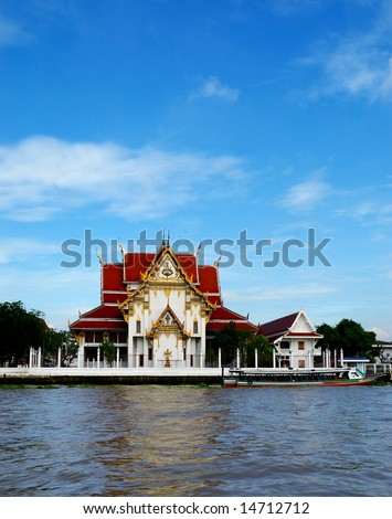 Pagoda in Bangkok, view from the river