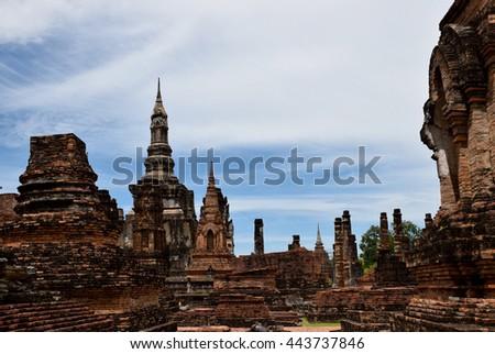 pagoda in Sukhothai historical park,  Thailand historical park,  Thailand , blue sky, blue sky cloud - stock photo