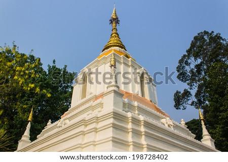 Pagoda In Wat Cang Kump , Wiang Kum Kam  - stock photo