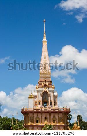 Pagoda in Wat Chalong or Chaitharam Temple, Phuket - stock photo