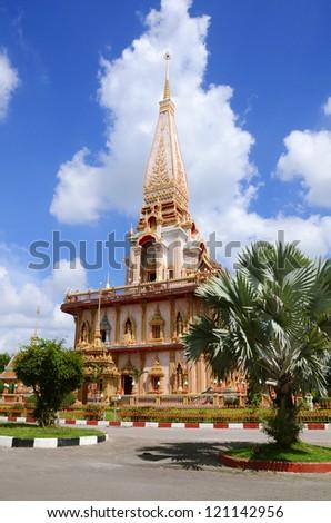 Pagoda in Wat Chalong or Chaitharam Temple, Phuket, Thailand - stock photo