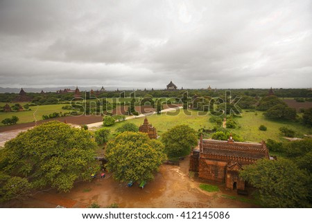 Pagoda landscape in the plain of Bagan at rainy day, Myanmar (Burma) - stock photo